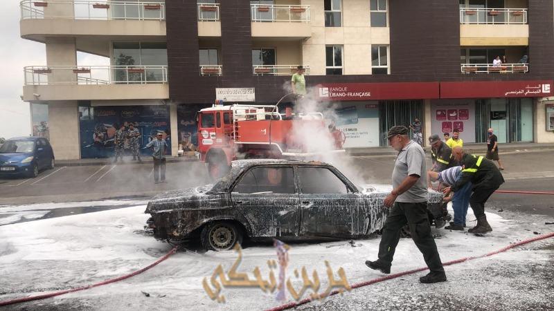(بالصور) اندلاع حريق في سيارة في لبعا