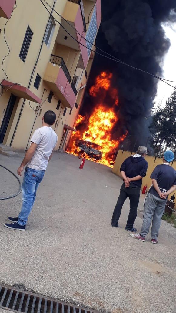 حريق بصهريج مازوت في برج العرب برقايل